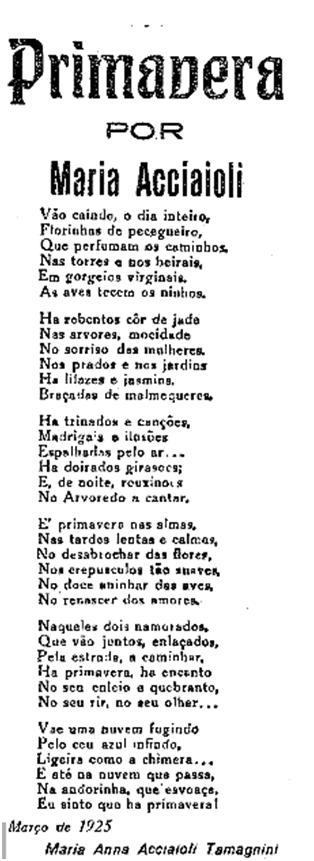 Diário de Lisboa 1925 PRIMAVERA de Maria Anna Acciaioli