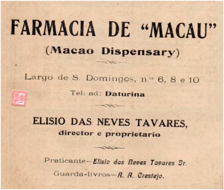 ANÚNCIO - FARMÁCIA DE MACAU 1922