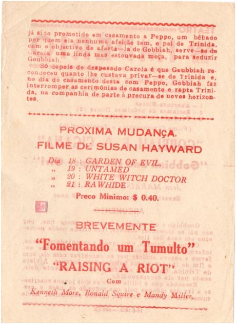 IMPÉRIO 15JUN1956 Gobbiah and the Gipsy Verso