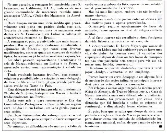 NAM VAN n.º1 1JUN1984 - Casa de Macau em Lisboa (II)