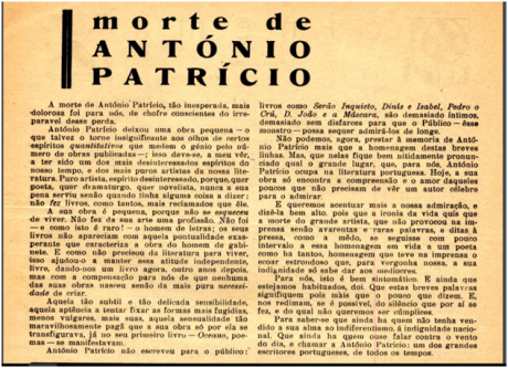 PRINCÍPIO n.º 3, 25JUN1930 - Morte de António Patrício