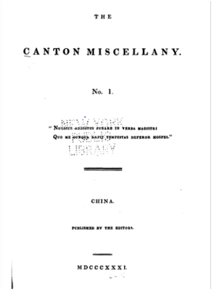 The Canton Miscellany N.º 1