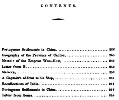 The Canton Miscellany N.º 4- sumário