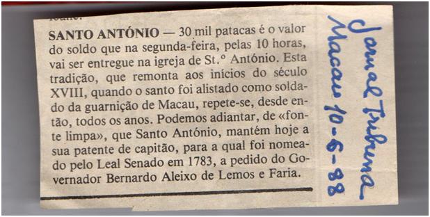 Tribuna de Macau 10JUN1988 - Santo António