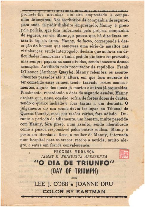 VITÓRIA - 21-06-1957 The Wrong Man verso