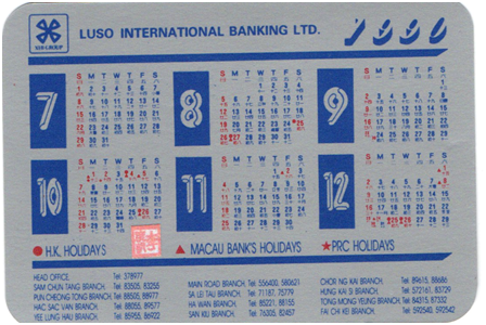 CALENDÁRIO 1990 verso Luso Internacional Bangking