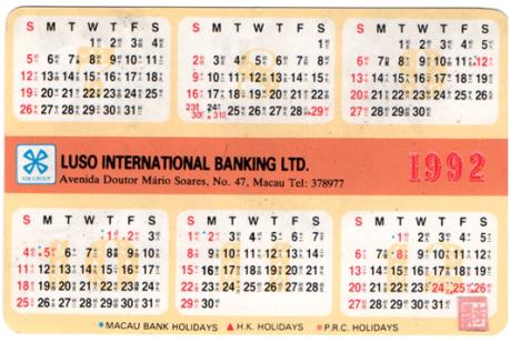 CALENDÁRIO 1992 verso Luso Internacional Bangking