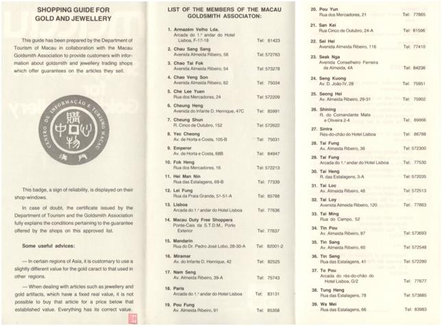 Macau Shopping Guide for Gold - verso