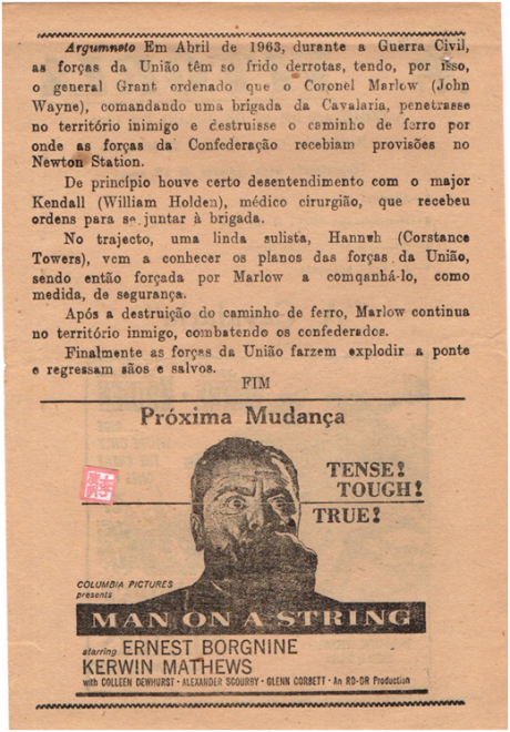 VITÓRIA - 29JUL1960 - The Horse Soldiers verso