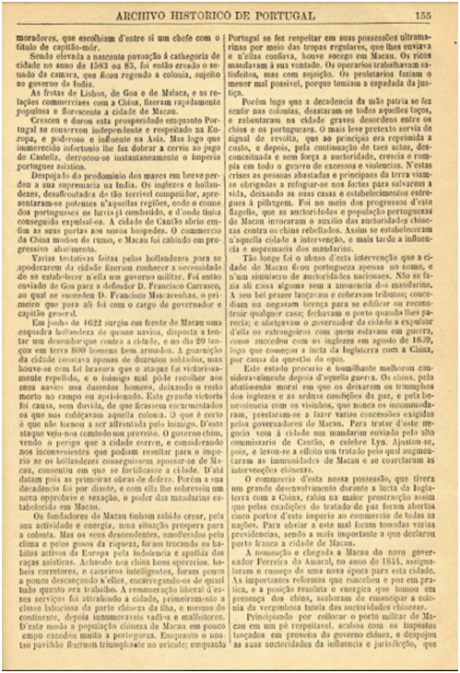 Archivo Historico de Portugal n.º 39-1890 MACAU p.155