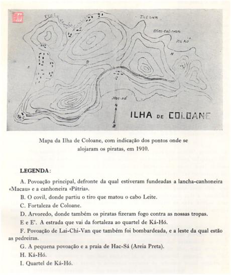 Os Piratas em Coloane em 1910 - MAPA Ilha de Coloane